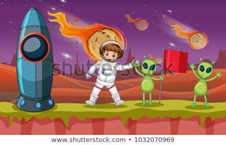 Astronot iki garip gezegen örnek çalışmak Stok fotoğraf © colematt