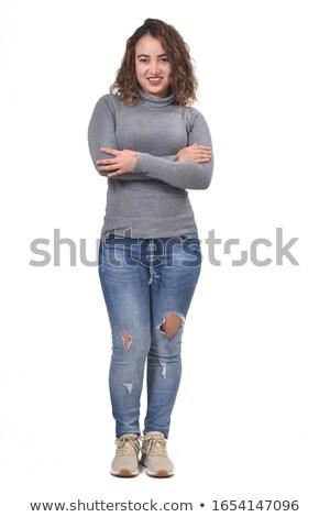 背面図 · 肖像 · 小さな · ブロンド · 女性 · グレー - ストックフォト © filipw