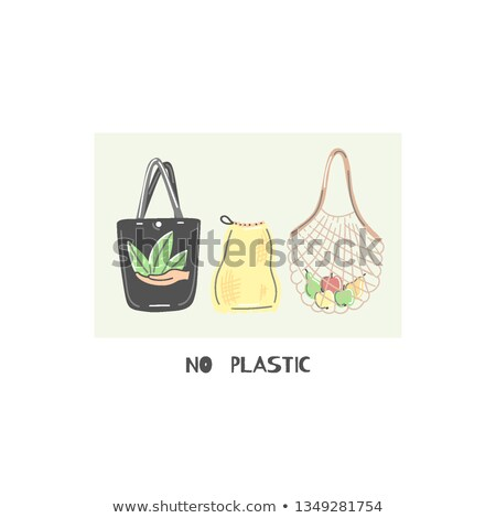 Cloth bag instead of plastic. Zero waste lifestyle. Eco friendly. Save planet. Care of nature. Vegan Stock photo © user_10144511