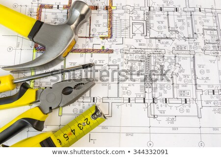 werk · tool · oude · meetlint · hamer · roestige - stockfoto © nemalo