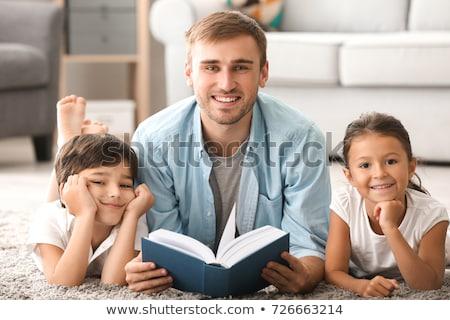 Stockfoto: Vader · lezing · boek · gelukkig · liefhebbend · familie