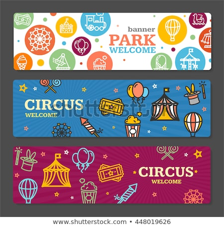 Set of Horizontal Banners about Amusement park Stock photo © netkov1