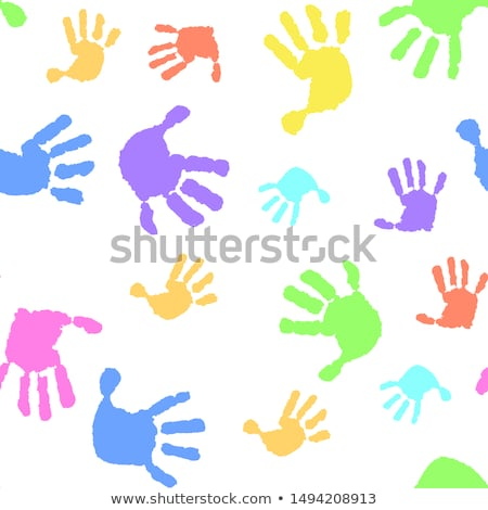 Five colored children's palms, isolated on white background Stock photo © moses