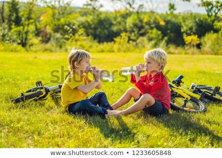 Kettő kicsi fiúk ital vízipark lovaglás Stock fotó © galitskaya