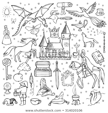 Collection of fairy tales hand drawn doodles, illustrations Stock photo © marish