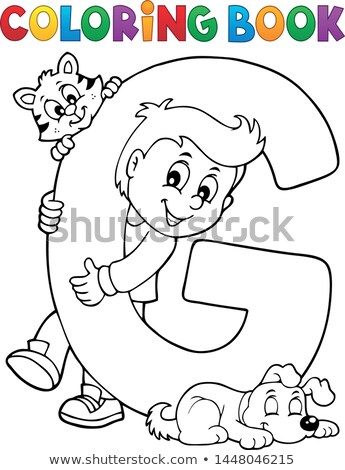 coloring book boy and pets by letter g stock photo © clairev