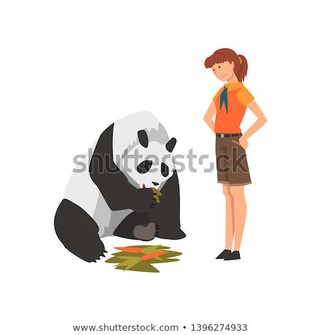 zoo worker feeds cute pandas stock photo © jossdiim