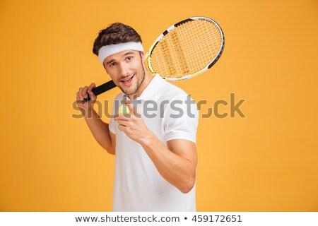 mannelijke · tennisspeler · permanente · racket · portret · knap - stockfoto © nyul