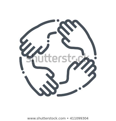 Eenheid teamwerk icon glanzend knop ontwerp Stockfoto © angelp