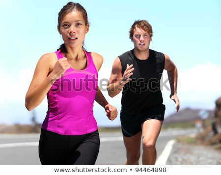 Coppia formazione fuori maratona sport Foto d'archivio © Lopolo