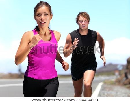Paar opleiding buiten marathon sport Stockfoto © Lopolo