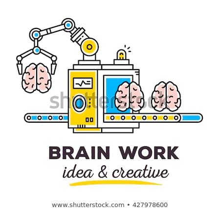 Yüksek teknoloji beyin tek renkli vektör yapay zeka Stok fotoğraf © pikepicture