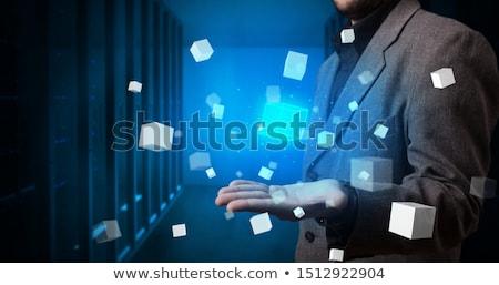 Személy tart kocka hologram vetítés fehér Stock fotó © ra2studio