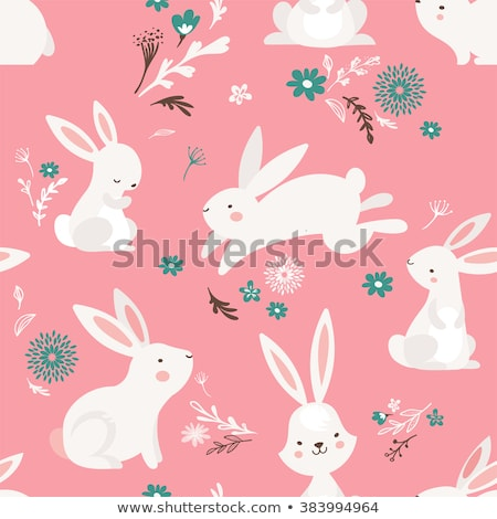 Seamless Pattern Chocolate Bunny with Pink Ribbon Stock photo © robuart