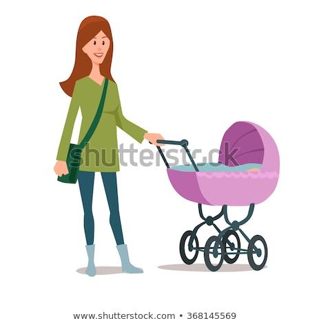 Vrouw lopen wieg baby houten slapen Stockfoto © robuart