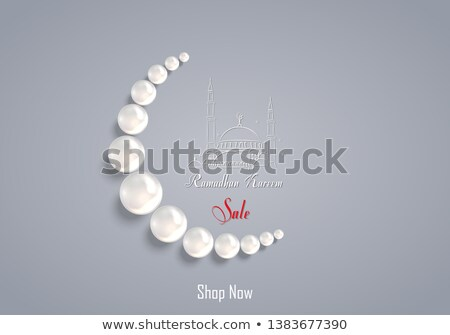 Ramadan Kareem Poster Crescent Muslim Prayer Beads Stock photo © robuart