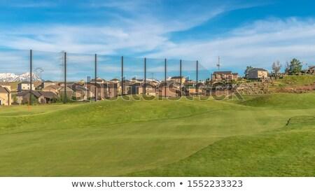 ゴルフコース フェンス 曇った 空 美しい 緑 ストックフォト © lichtmeister