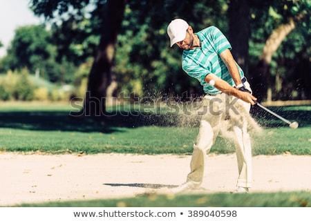 гольфист песок ловушка мужчины зеленый Сток-фото © lichtmeister