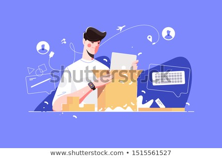 Smart man unpacking big parcel Stock photo © jossdiim