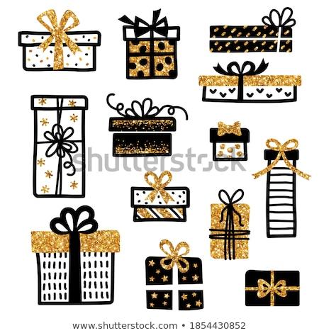 Caja de regalo arco confeti tinta vector Foto stock © pikepicture