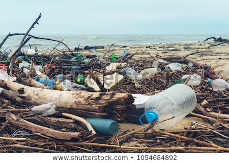 Water pollution with plastic bags in  park Stock photo © bluering