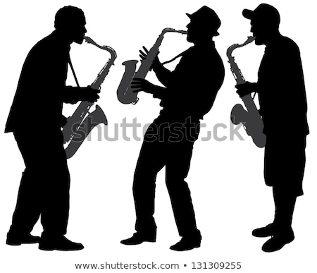 Foto stock: Preto · silhueta · saxofone · jogador · laranja · musical