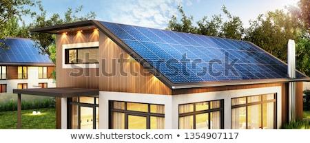 Modern ev fotovoltaik güneş ısıtma çatı Stok fotoğraf © manfredxy
