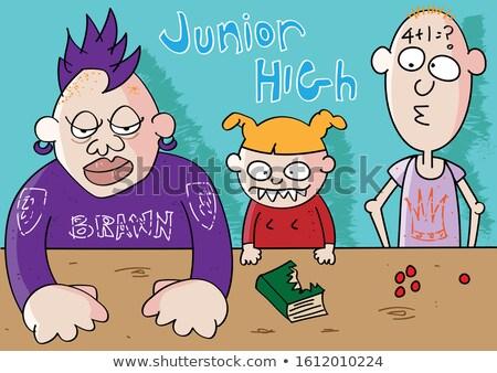 Grappig leraar nachtmerrie afschuwelijk studenten cartoon Stockfoto © zkruger