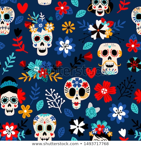 Day of the dead mexican icons seamless pattern  Stock photo © cienpies