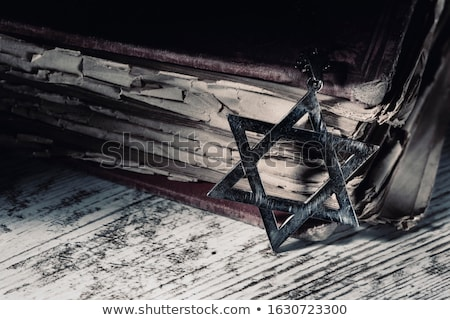 the star of david on a rustic wooden surface Stock photo © nito