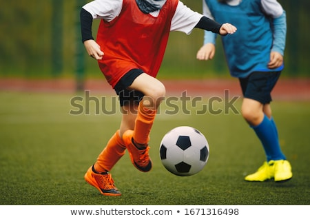 Junior youth soccer team compete on grass pitch. Soccer summer Stock photo © matimix