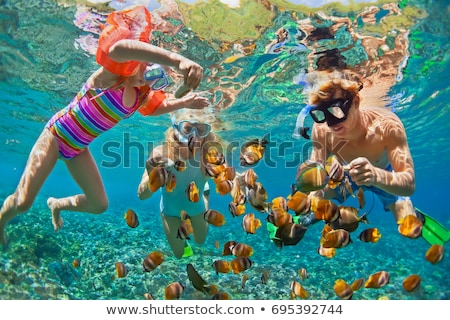 Happy family - active kid in snorkeling mask dive underwater, see tropical fish in coral reef sea po Stock photo © galitskaya