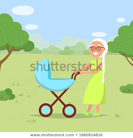 Grandmother with Child in Baby Buggy Walk in Park Stock photo © robuart