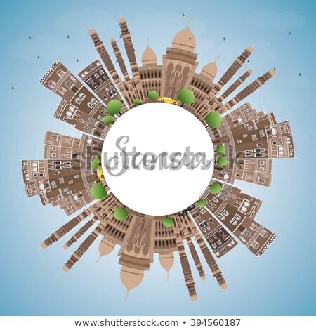 Iémen linha do horizonte marrom edifícios cópia espaço Foto stock © ShustrikS