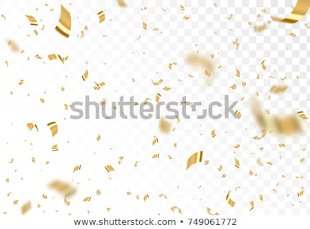 Luxury background with bright golden serpentine, confetti and balloons on black with blank banner Stock photo © evgeny89