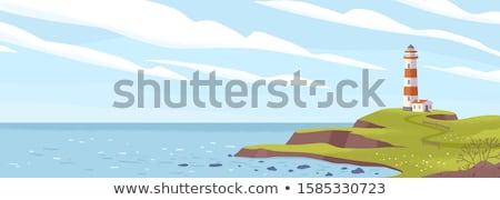 Zeegezicht baken rotsen zee waarschuwing zonsondergang Stockfoto © fouroaks