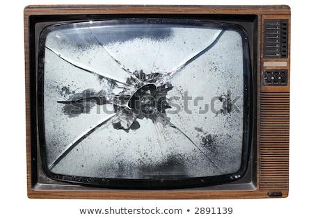 törött · tv · elhagyatott · szemeteskuka · televízió · üveg - stock fotó © latent