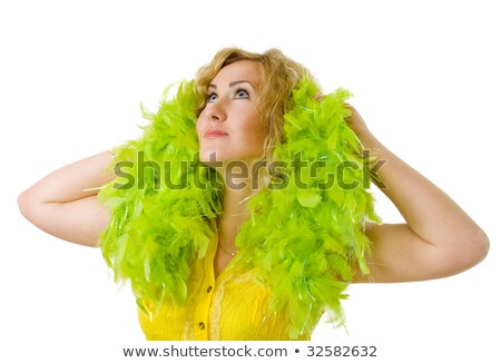 loiro · pena · cama · corpo · cabelo - foto stock © dolgachov