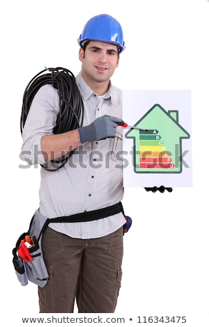 A construction worker promoting energy savings. Stock photo © photography33