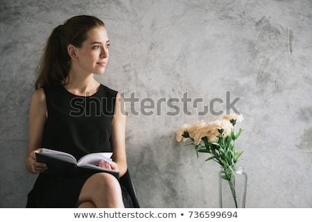 белый · Lounge · красивая · женщина · чтение · книга · диван - Сток-фото © CandyboxPhoto