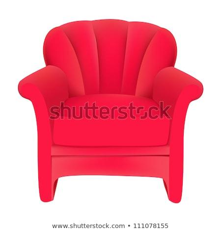 Rood fluwelen gemakkelijk stoel witte illustratie Stockfoto © yurkina