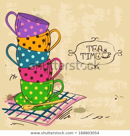 Кубок чай скатерть кухне пространстве жизни Сток-фото © wavebreak_media