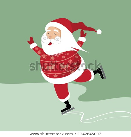Santa Claus Ice Skating stock photo © AlienCat