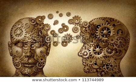 Cervello umano pergamena digitalmente manipolata rendering 3d salute Foto d'archivio © AlienCat
