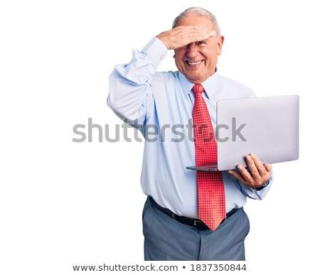 boos · triest · senior · grijs · haar · zakenman · laptop - stockfoto © lunamarina
