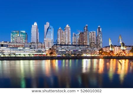 Buenos Aires sziluett kikötő feketefehér város utazás Stock fotó © compuinfoto