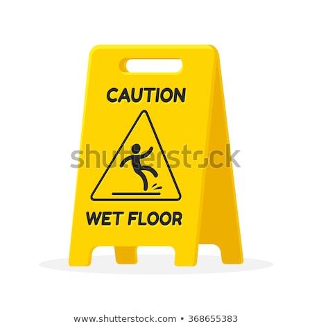 voorzichtigheid · nat · vloer · teken · geïsoleerd - stockfoto © designsstock