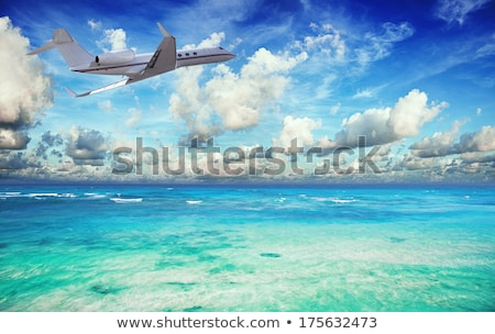 private jet plane over the tropical sea stock photo © moses