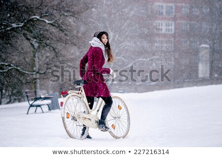 bicicleta · neve · inverno · cena · noturna · bicicleta · esportes - foto stock © 2tun