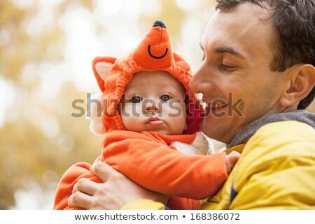 Jonge vader weinig zoon vos kostuum Stockfoto © photobac
